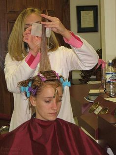 I warned you already, Graham. Boys with long feminine hair get it curled in my salon! Boys Long Hairstyles, Permed Hairstyles, Female Hairstyles, 1960s Hair, Womanless Beauty Pageant, Wet Set, Perm Rods, Hair And Beauty Salon, Long Hair Cuts