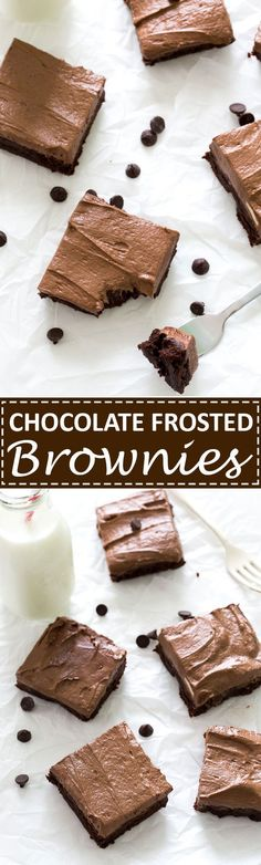 Thick and Fudgey Chocolate Frosted Brownies topped with a thick layer of Chocolate Buttercream Frosting.   chefsavvy.com #recipe #chocolate #dessert #brownies #frosting