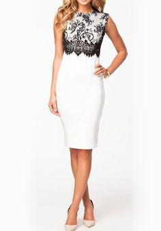 White Plain Lace Round Neck Sleeveless Dress
