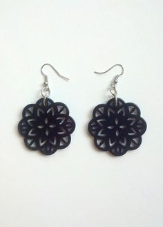 Black floral pendant button earrings by Tareware on Etsy, $14.50