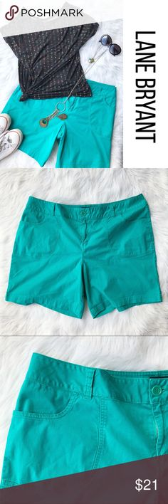 """Lane Bryant Turquoise Green Stretch Shorts 22 Stretch.  Pockets. Flat front. Size 22.  Approx measurements lying flat: waist 21"""", rise 12.5"""", hips 24"""", inseam 7.5"""". Great condition, slight piling between legs, pictured.  B8 Lane Bryant Shorts"""
