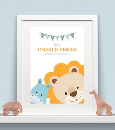 Personalised Baby Print - Peeking Animals - Hippo & Lion