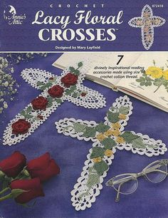Lacy Floral Crosses, Annie's Attic Crochet Pattern Book for Lacy and Floral Religious Symbols, Bookmarks