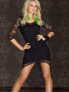 Black Lace Half Sleeves Jewel Neck Womans Club Dress $19.99