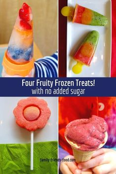 Everyone loves an ice-lolly! Here are three easy frozen treats plus a bonus recipe for almost instant frozen yogurt. And all with no added sugar!  #frozentreats #popsicles #icelollies #noaddedsugar #lollies #frozenyogurt Strawberry Desserts, Frozen Desserts, Frozen Treats, Easy Desserts, Trim Healthy Recipes, Snack Recipes, Diabetic Recipes, Fruit Lollies, Savory Snacks