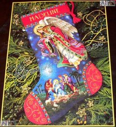 Dimensions Gold HEAVENLY ANGEL ,MAGI Counted Cross Stitch Christmas Stocking Kit | Bugsysbazaar