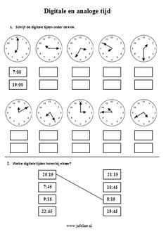 Domein: Meten. Onderdeel: Tijd Doel: digitale en analoge tijden aflezen Preschool Learning Activities, Kids Learning, Math Clock, Math Groups, Teaching Time, Math Facts, School Hacks, Math Classroom, Primary School
