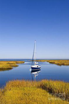 Sailboat in a salt marsh in Cape Cod Bay, Cape Cod, Massachusettes