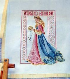 cross stitch conversion, pink spring celtic lady