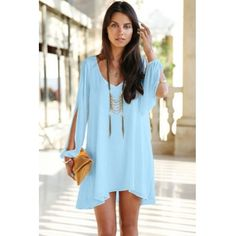 USD9.49Cheap Fashion V Neck Long Sleeves Splits Asymmetrical Sky Blue Chiffon A Line Mini Dress