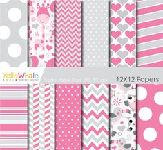 Digital Paper Pack  Cute Animals pink grey by YelloWhaleDesigns