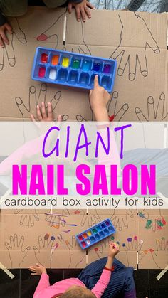 Giant Nail Salon for Kids - HAPPY TODDLER PLAYTIME - Set up the most fun giant pretend activity ever. This giant nail salon for toddlers, preschoolers a - Babysitting Activities, Preschool Learning Activities, Motor Activities, Preschool Activities, Kids Learning, Rainy Day Activities For Kids, Fine Motor Activity, Family Activities, Toddler Activities Daycare
