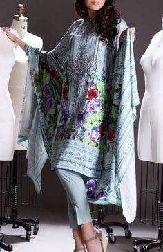 Buy Grey Printed Viscose Linen Dress by Nishat 2015.
