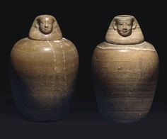 Pair of alabaster canopic jars for Tau-Iert-Iru. Late Period. 26th dynasty, c. 664-525 B.C. | Christie's