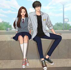 Cute Couple Art, Anime Love Couple, Cute Anime Couples, Pretty Anime Girl, Beautiful Anime Girl, Anime Art Girl, Girls Anime, Best Love Photos, Anime Love Story