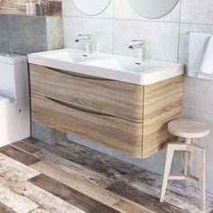 Cube Wall Mounted Vanity Unit with Double Basin in Light Oak. Sale includes basin & vanity unit only. The Unit is Wall Mounted. Double Basin Vanity Unit, Oak Vanity Unit, Corner Vanity Unit, Bathroom Vanity Units, Wall Mounted Vanity, Wood Vanity, Bathroom Basin, Vanity Sink, Basin Sink