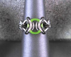 Lime Green Ring, Chainmaille Jewelry, Stainless Steel Ring, Chain Maille Jewelry, Edgy Jewelry, Chainmail Jewelry, Chain Mail Jewelry