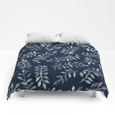 White Leaves on Navy - a hand painted pattern Comforters