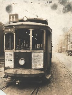"""Tennessee State Library and Archives: Photograph and Image Search. Front of Nashville streetcar #11. Features an advertisement for William Haines in """"Remote Control"""" at Loew's Vendome. 1930"""
