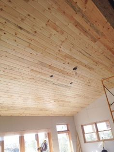 we planked the entire kitchen and breakfast room ceiling, using