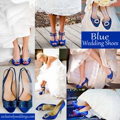Blue wedding shoes, don't be afraid to add a little color to your look.