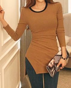 Stylish Jewel Neck Long Sleeves Solid Color Slit T-Shirt For Women