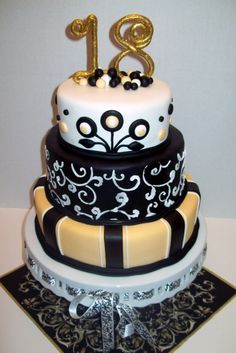 18th birthday cake ideas for guys 18th birthday two tier cake golden 18th birthday cake by jillfcs maybe have 14 instead of 18 sciox Image collections