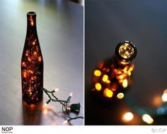 With the party season in full swing, many of us have empty wine bottles lying around. Get your craft on this Christmas and create this DIY wine bottle lights! Diy Upcycled Wine Bottles, Recycled Bottle Crafts, Empty Wine Bottles, Lighted Wine Bottles, Diy Bottle, Wine Bottle Crafts, Glass Bottles, Beer Bottles, Bottle Art