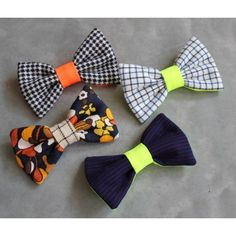 DIY colorful bow ties ... I will make them hair clips :)