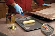 Zero-Cleanup Finishing: Forget brushes when it comes to varnishing a ton of trim or big, flat areas like tabletops and cabinets. Use a 4-in. disposable roller and a nonstick, lipped baking sheet. Pour varnish into tray and use it just like a paint rolling tray. Keep adding varnish as you need it, but try to plan so you end up with an empty tray. When you're through, toss the roller sleeve and let the wet varnish dry in the pan. When it dries, just peel varnish film out of pan. 01/20/15  JS