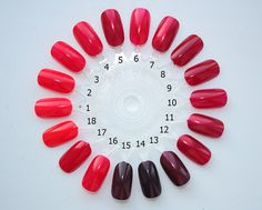 1. OPI Cajun Shrimp 2. OPI Red My Fortune Cookie 3. OPI Girls Just Want To Play 4. OPI Dutch Tulips 5. OPI Thanks So Muchness 6. OPI Dear Santa 7. OPI An Affair in Red Square 8. OPI Quarter of a Cent-Cherry 9. OPI Malaga Wine 10. OPI St'Peterburgundy 11. OPI Glove You So Much 12. OPI Smitten With Mittens 13. OPI Meet 14. OPI Black Cherry Chutney 15. OPI We'll Always Have Paris 16. OPI Color So Hot it Berns 17. OPI O'Hare Nails Look Great! 18. OPI MonSooner or Later