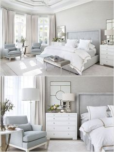 Magnificient Master Bedroom Decorating Ideas - TRENDEDECOR : modern farmhouse master bedroom decor, farmhouse bedroom design rustic neutral bedroom design with white walls and white bedding nightstand decor, side table styling and wall art Modern Master Bedroom, Modern Bedroom Design, Master Bedroom Design, Home Decor Bedroom, Bedroom Designs, Diy Bedroom, Bedroom Small, Bedroom Colors, Bedroom Retreat