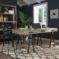 The Juliana Desk pulls double duty. Works great as both a large desk or small table. The iron saw horse bases support a solid pine wood top. 3 drawers provide ample storage for all of your desktop nee