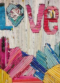 Materials: - Magazines - Wooden Skewers - Glue Sticks - Glue Bottles - Scissors - Canvas (or hard another hard surface) -. Recycled Magazine Crafts, Recycled Magazines, Recycled Art, Rolled Magazine Art, Rolled Paper Art, 6th Grade Art, Newspaper Crafts, Art Journal Techniques, School Art Projects