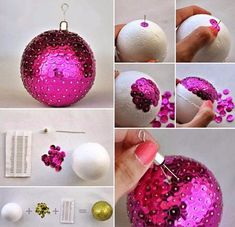DIY Sequins Ball Christmas Ornaments diy crafts christmas easy crafts diy ideas christmas ornaments christmas crafts christmas decor christmas diy christmas crafts for kids chistmas tutorials Sequin Ornaments, Diy Christmas Ornaments, Christmas Decorations, Ball Ornaments, Tree Decorations, Kids Ornament, Decoration Party, Noel Christmas, Christmas Balls