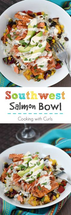 This Southwest Salmon Bowl is packed full of flavor with black bean salsa, mangoes, avocado and a hint of spices all topped off with a chipotle crema | cookingwithcurls.com