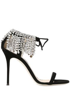 10368e93417 GIUSEPPE ZANOTTI DESIGN 105MM SWAROVSKI SUEDE SANDALS BLACK NzAyNDY1 WOMEN  SHOES