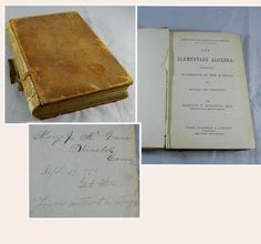 ANTIQUE 1875 SCHOOL BOOK NEW ELEMENTARY ALGEBRA ROBINSON'S Mathematical SERIES