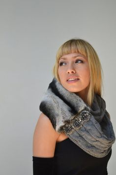 Gray cable infinity scarf with a fur twist by KaleidoscopicCouture, $145.00