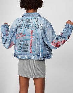 Denim jacket with scribbles - Denim - Coats and jackets - Clothing - Woman - PULL&BEAR United Kingdom