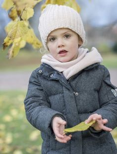 "Royal House of Sweden has published new official pictures of Princess Estelle on November 23, 2015. Princess Estelle was photographed in the garden at Haga Palace. ""Autumn Greetings from Haga"""