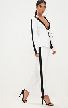 White Contrast Stripe Straight Leg Trouser. Shop the range of trousers today at PrettyLittleThing. Express delivery available. Order now