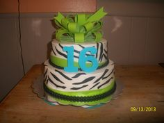 - Zebra and lime green birthday cake with gumpaste bow topper