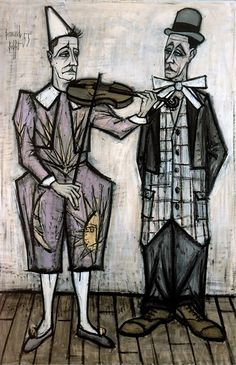 Bernard BUFFET ( 1928 - 1999 ), Le cirque : Deux Clowns - 1955 oil on painting 260 x 150 cm