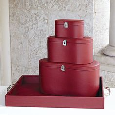 Global Views Midtown Leather Oxblood Box - Available in 3 Sizes Large Box Home Decor Accents Boxes and Baskets Leather Box, Luxury Home Decor, Oxblood, Small Boxes, Color Of The Year, Marsala, Accent Decor, Baskets, Medium