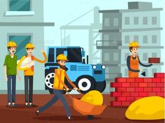 Construction Workers Characters Flat Poster by macrovector Workers with foreman on construction site building brick wall with urban houses and crane background flat vector illustration. Edi