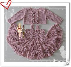 Crochet baby dress and sweater - photo and charts.  Other clothing items with charts at this site.