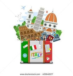 Concept of travel to Italy or studying Italian. Italian flag with landmarks in suitcase. Tourism in Italy. Flat design, vector illustration - stock vector