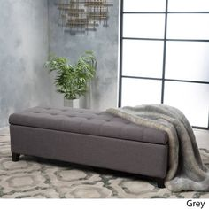 Mission Tufted Fabric Storage Ottoman Bench by Christopher Knight Home (Grey) Fabric Storage Ottoman, Storage Benches, White Duvet, Grey Fabric, Storage Spaces, The Help, Living Room Designs, Upholstery, Interior