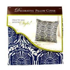"Blue & White 18"" x 18"" Poly Linen Geometric Pillow Cover"